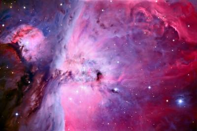 Primo piano della regione centrale della nebulosa di Orione