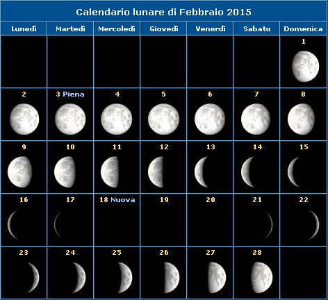 Calendario della Luna del mese di febbraio 2015