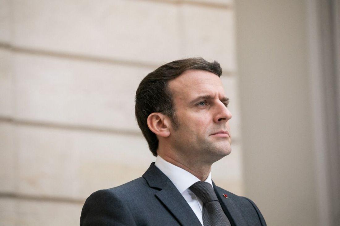 Le président de la République française Emmanuel Macron lors du conseil franco-allemand de défense et de sécurité en visioconférence avec la chancelière allemande au palais de l'Elysée à Paris, France, le 5 février 2021.