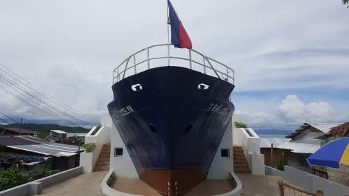 M/V Eva Jocelyn remnant, one of the cargo vessels washed ashore during the storm surge, made as a Yolanda Memorial Marker in Anibong, Tacloban City.