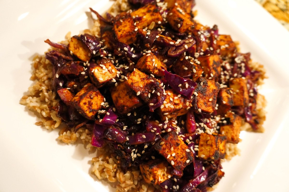 Thai Style Sweet And Spicy Tofu With Red Cabbage