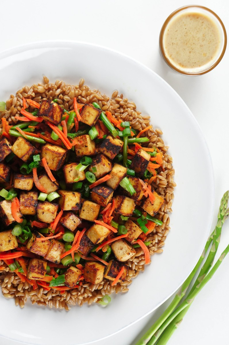 Ginger Honey Garlic Tofu and Veggies with Farro