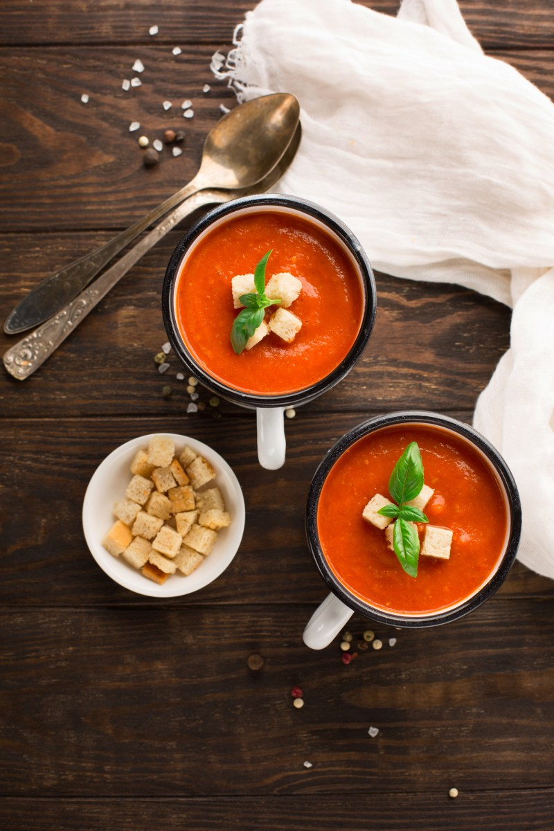 Creamy Tomato and Red Pepper Soup with Homemade Croutons