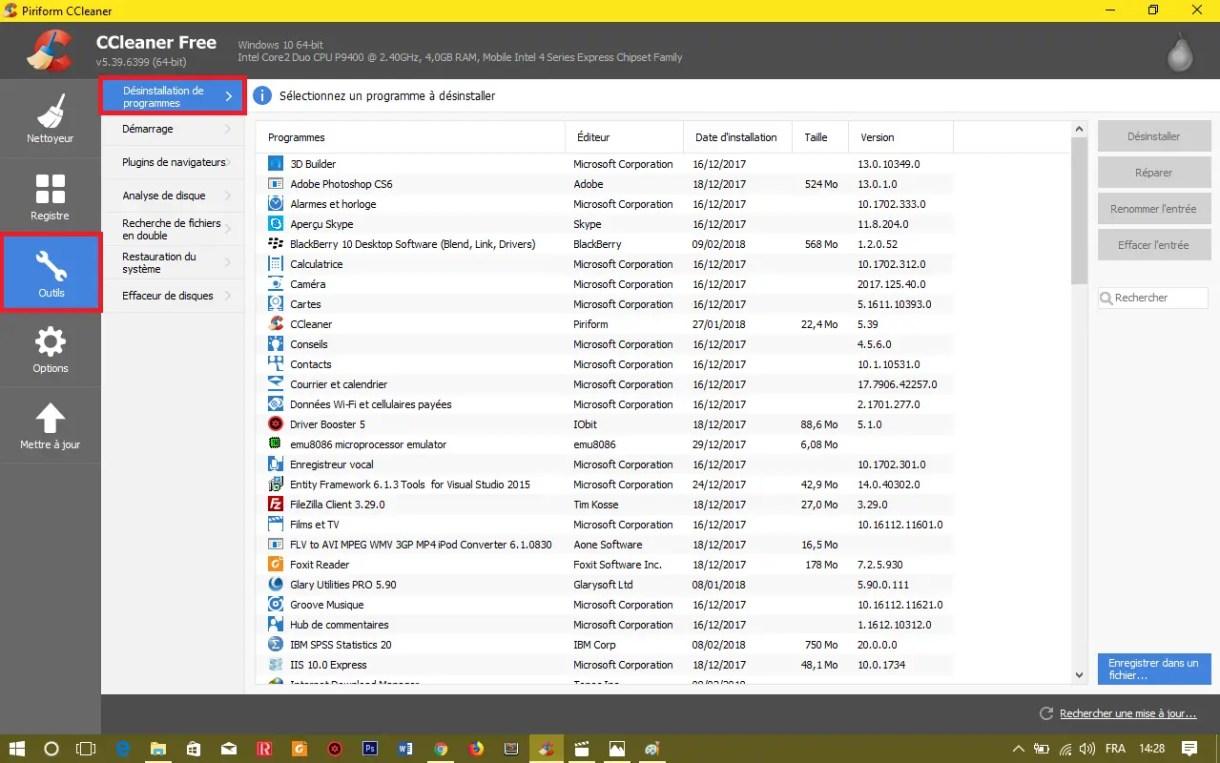 Effacer un Programme sous Windows avec CCleaner