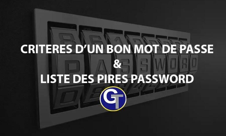 Critères D'un Bon Mots De Passe & Liste De 25 Pires Passwords Les Plus Utilisés En 2018