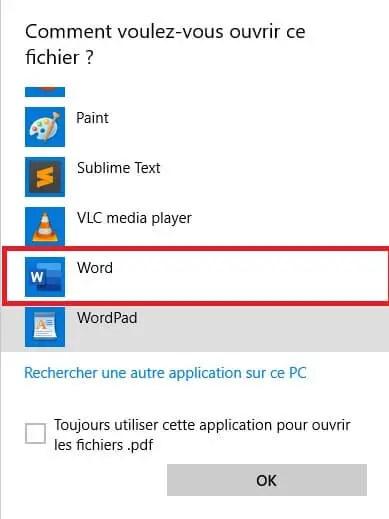 Ouvrir un PDF avec Word