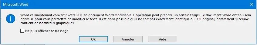 Ouvrir un document PDF avec Word