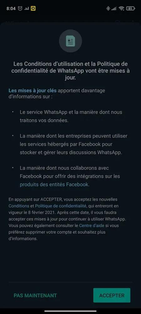 Capture de modification des CGU WhatsApp