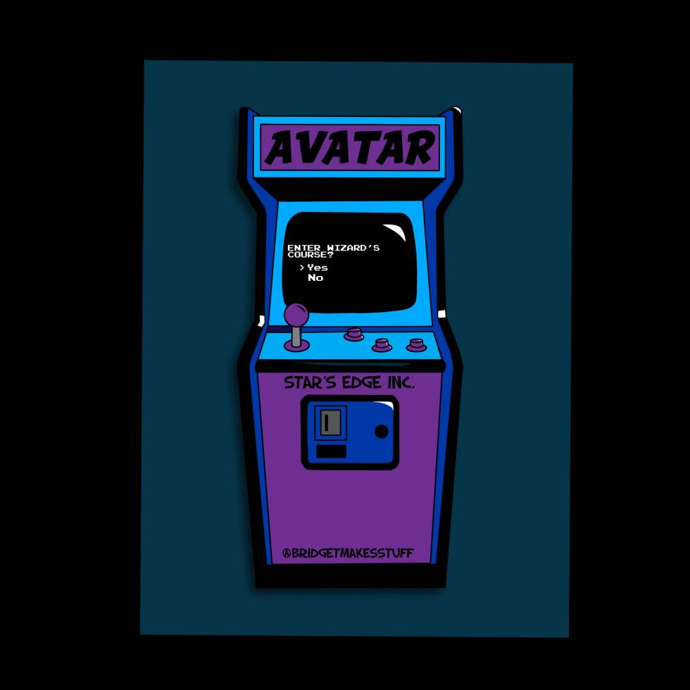 "A flat illustration of an arcade game. The Arcade machine says Avatar at the top and ""Star's Edge Inc."" above the coin slot. The machine has a joystick and three buttons. The screen is the old school Atari MS-DOS looking prompt and it says ""Enter Wizard's Course? >Yes No"""