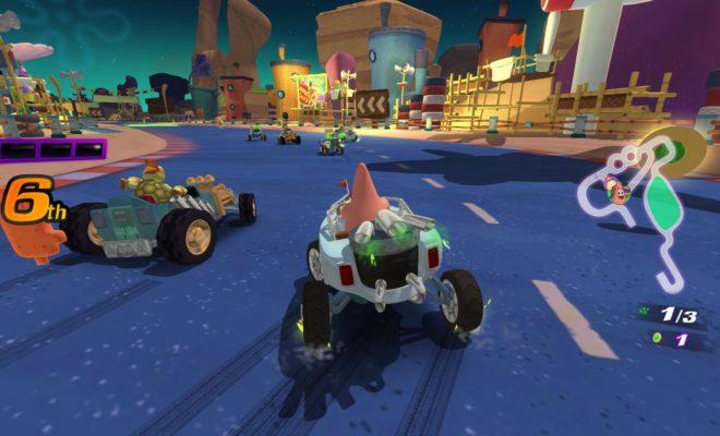 Patrick racing in Nickelodeon Kart Racers
