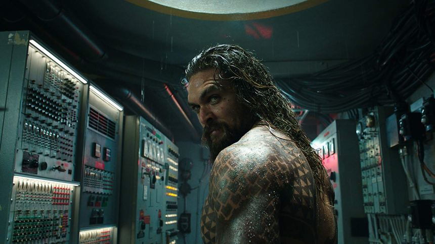 Aquaman looks back over his shoulder