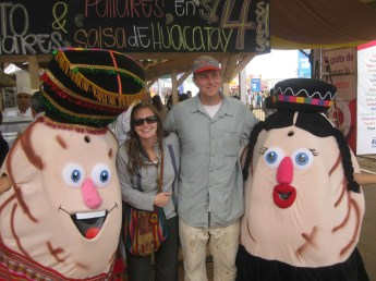 Me and Andrea with some sort of potato people.