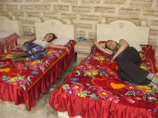 Holly and Andrea resting in salt hotel beds.