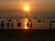 Sunset soccer, Railey Beach, Thailand