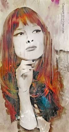 Maybe - Digital Mixed media Portrait by Galen Valle