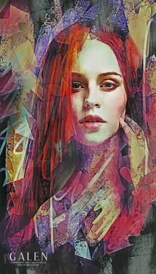 Ashes - Abstract Redhead Portrait Art Print by Galen Valle
