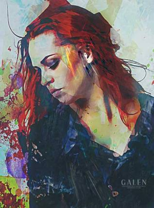 Mostly - Abstract Portrait Art Print by Galen Valle