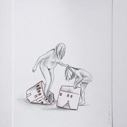 Déshabillant_la_maison10_24x32_Lápiz y tinta sobre papel