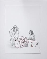 Déshabillant_la_maison7_24x32_Lápiz y tinta sobre papel