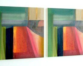 Cuadros iguales, 2015. Serie de 2 unidades. Técnica mixta sobre lienzo montada en madera. 80 x 80 x 4 cm