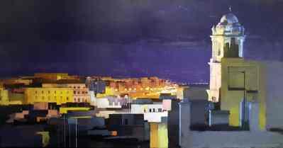 100 x 50 cm Nocturno Cádiz 2 Óleo sobre Tabla