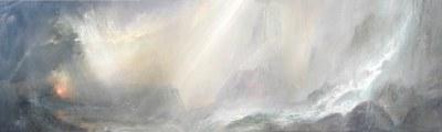 Crepúsculo nostálgico Acrílico - Tela, 30 x 90 cm