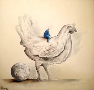 Victor López de la Fuente - La gallina - T.mixta 48x50 cm