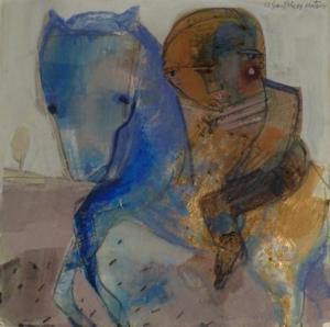 Caballo azul 34x34