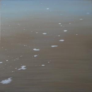 ... estás en el dibujo imaginario borrado por las olas...50x50cm oleo-tabla