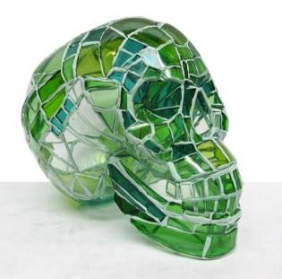 54.- Andres Basurto, Serie Vanitas III (verde) , 2013, ensamble de vidrio, 18 x 13 x 20 cm
