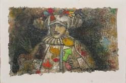 Armando Villegas, Guerrero arlequín, 1999, Óleo sobre lienzo, 16.5 x 25.5 cm