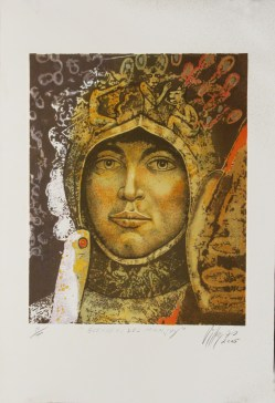 Armando Villegas, Guerrero del Manjuy, 2005, gráfica PT, 70 x 50 cm.