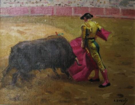 1.- Alfredo Enguix , El derechazo, Óleo sobre tabla, 27 x 35 cm