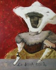 Irma Gutierrez, De la serie Loteria y otras fichas La Dama de todas las noches, 2015, encausto sobre madera tratada, 100 x 80 cm