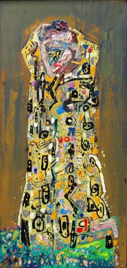 Besos y saxofones, 2015, Óleo sobre tela, 130 x 60 cm