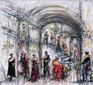 Jazzamoart, El palacio de las beboperas de abolengo, 2015, Óleo sobre tela, 120 x 130 cm