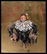 Jazzamoart, Personaje Rembrandt II, 2015, Óleo sobre tela con hoja de oro, 70 x 60 cm