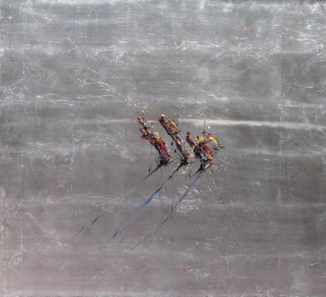 Jazzamoart, Trío en el horizonte, 2014, Óleo sobre tela con hoja de plata, 100 x 90 cm
