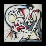 Isz, A pleasant surprize 4 yours eyes Óleo y acrílico sobre tela, 30 x 30 cm