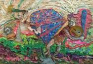 Pablo Cotama, El tiempo no dura igual en todas partes, recuerdo recurrente y circular, 2016, pintura plástica y tramas plastificadas sobre tela, 100 x 145 cm