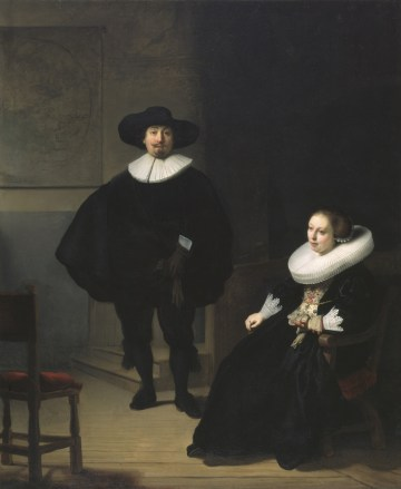 "Rembrandt's ""A Lady and Gentleman in Black"" (1633) is shown in a handout photo provided by the Isabella Stewart Gardner Museum in Boston, Massachusetts, March 18, 2013. The painting is included on a list of several works of art stolen from the museum which experts estimate at $300 million in a brazen robbery on March 19, 1990. The FBI plans to reveal new information about one of the city's longest-running crime mysteries. REUTERS/Gardner Museum/Handout (UNITED STATES - Tags: CRIME LAW ENTERTAINMENT SOCIETY) NO SALES. NO ARCHIVES. FOR EDITORIAL USE ONLY. NOT FOR SALE FOR MARKETING OR ADVERTISING CAMPAIGNS. THIS IMAGE HAS BEEN SUPPLIED BY A THIRD PARTY. IT IS DISTRIBUTED, EXACTLY AS RECEIVED BY REUTERS, AS A SERVICE TO CLIENTS"