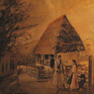 """Sat in amurg"", 30/ 30 cm, tehnica: mixta pe panza;"