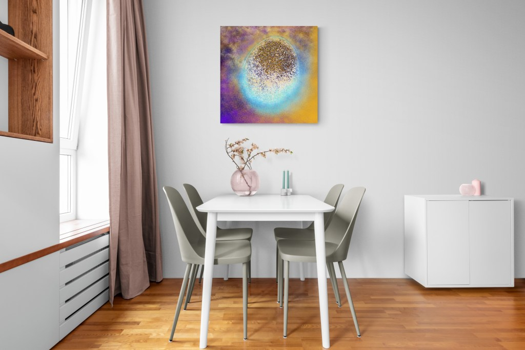 Fourth image of 'Renaissance'. Majestic art print from the collection Vagues d'Amour. artist: Anne Turlais - Limited edition of 300. Colorful wall art printed on Dibond, signed and numbered.