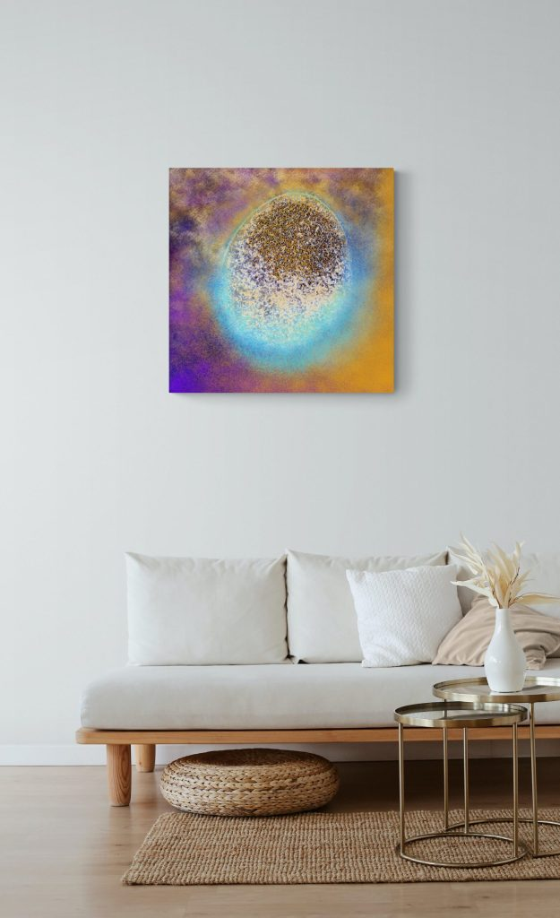 Second image of 'Renaissance'. Majestic art print from the collection Vagues d'Amour. artist: Anne Turlais - Limited edition of 300. Colorful wall art printed on Dibond, signed and numbered.
