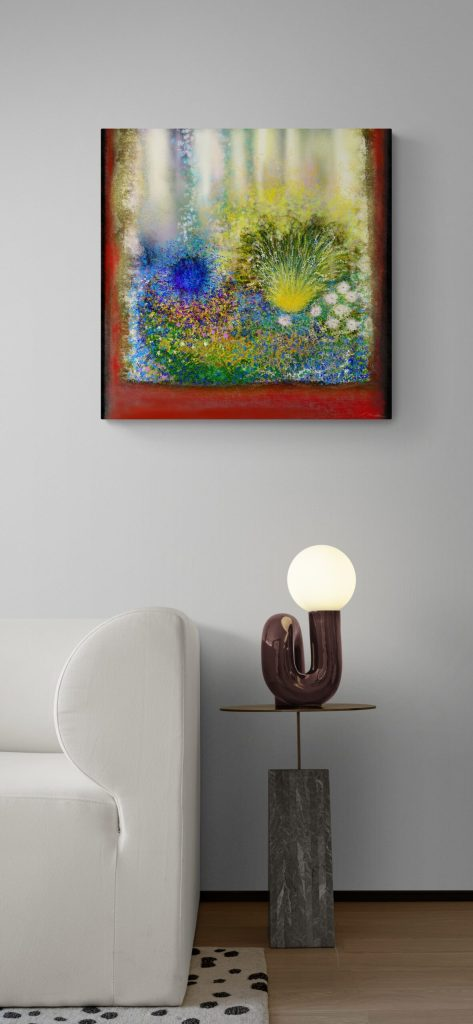 Fourth image of 'Secret Garden III' artist: Anne Turlais - Limited edition of 300. Abstract floral art printed on Dibond.