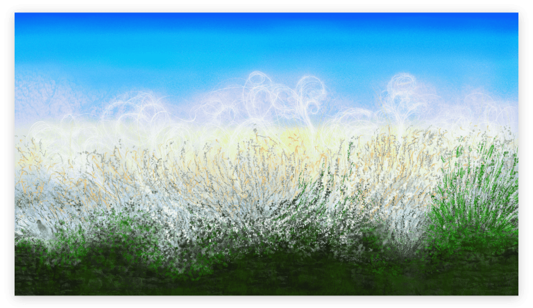 """With this angel hair fall a host of blessings upon us. Anne Turlais captures this colorful scene in her """"Angel Hair"""" art print, celebrating the magical presence of angels among us all."""