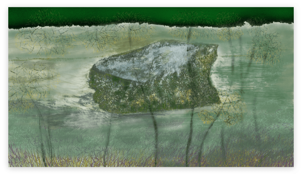 Beautiful art print inspired by the rock in the river of Occitanie called 'Ant's Rock', in France. artist: Anne Turlais - Limited edition of 300. Abstract nature art printed on Dibond.