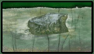 Belle impression d'art inspirée du rocher de la rivière d'Occitanie appelé 'Rocher de la Fourmis', en France. artiste : Anne Turlais - Edition limitée à 300 exemplaires. Art abstrait imprimé sur papier Fine Art et encollé sur Dibond.