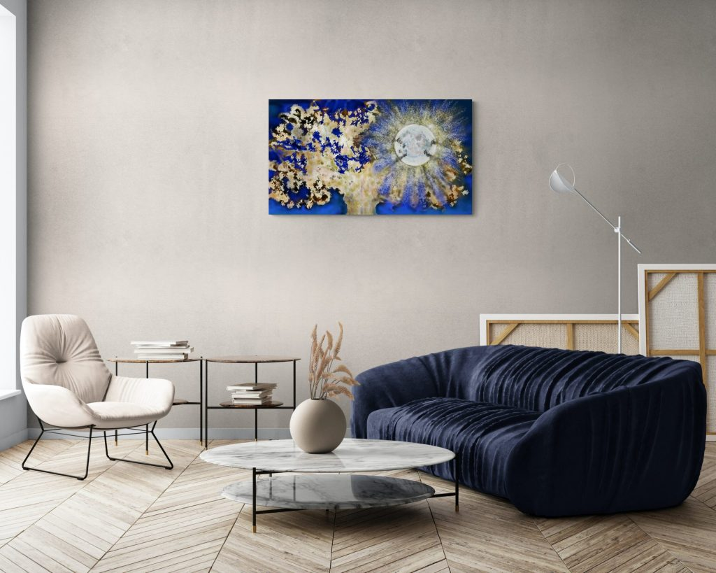 First image of the dazzling art print inspired by the vivid nights in Occitanie, France. artist: Anne Turlais - Limited edition of 300. Floral Art print in limited edition on Dibond.