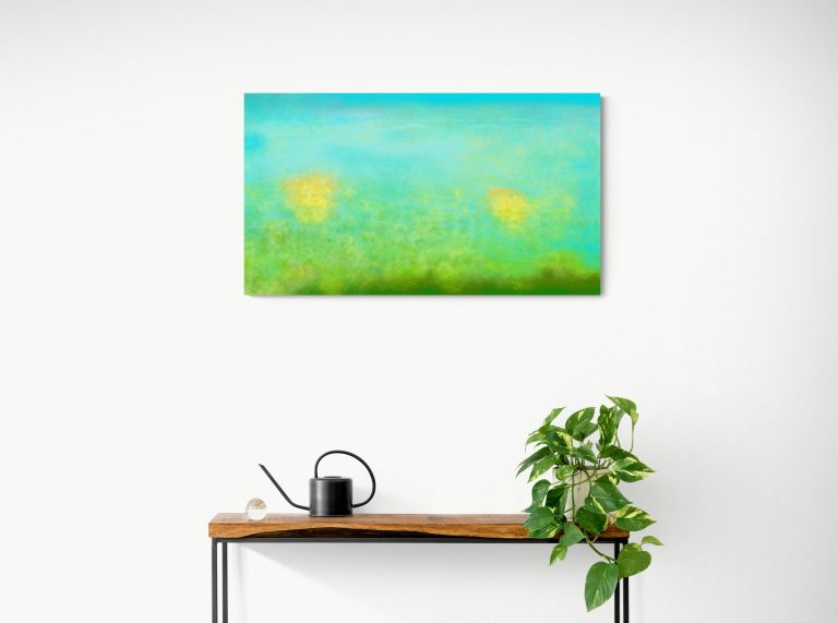 The abstract wall artwork 'Underwater' is a digital art inspired by the underwater of the river and the floating leaves. It's limited edition printed on Dibond. Galerie Artwave.